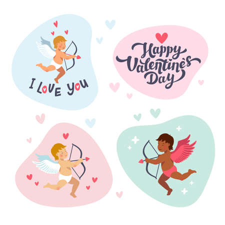 Cupids and angels with bows and arrows. Vector set of cute cupids for valentines day. Cartoon flat style vector illustration