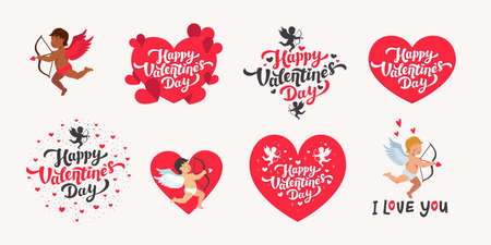 happy Valentines day vector set. Love day quotes and lettering with hearts and cupids white background. Vector illustration