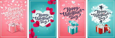 Valentine s day greeting cards - set of love day vector cards or posters. Vector illustration