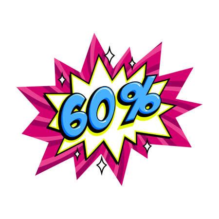 60 off sale. Comic pink sale bang balloon - Pop art style discount promotion banner. Vector illustration. Illusztráció