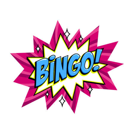 Bingo - lottery pink vector banner. Lottery game background in Comic pop-art style. Cartoon vector illustration.