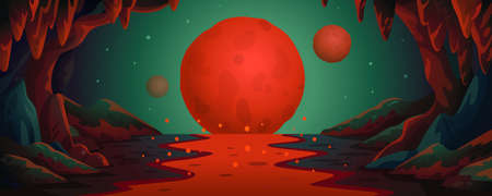 Mars - vector cartoon background. Marsian cave landscape with an underground lava river and red planets. Vector illustration in flat cartoon style