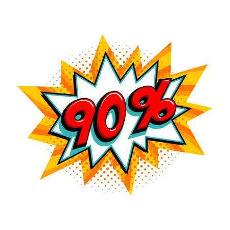 90 off sale. Comic yellow sale bang balloon - Pop art style discount promotion banner. Vector illustration.