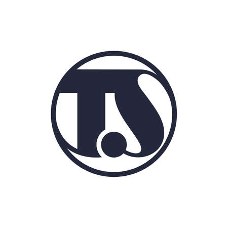 TS monogram logo. Ts minimalist initials in a circle shape, icon for any company or business. Black and white vector illustration