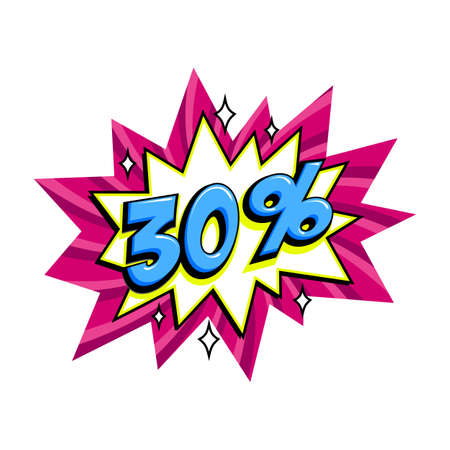 30 off sale. Comic pink sale bang balloon - Pop art style discount promotion banner. Vector illustration.
