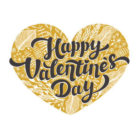 Love day card. happy Valentines day quote on Golden heart on white background. Vector illustration