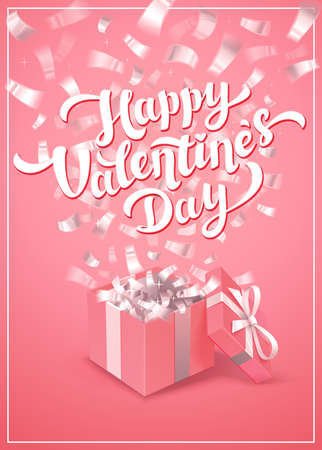 Happy Valentines day pink greeting card - love day vector card or poster with pink gift box and cupids in the clouds. Vector illustration