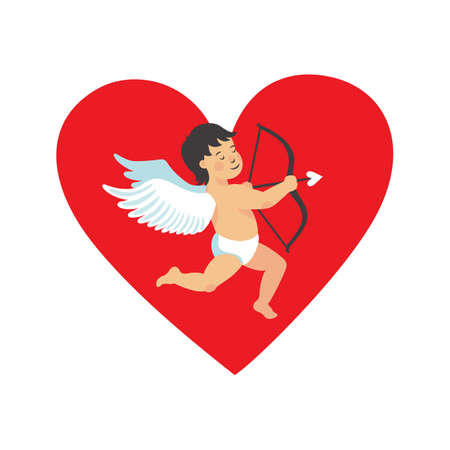 Valentins day heart chape card with cute cupid on white background. Vector illustration