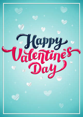Happy Valentine s day greeting card - love day vector card or poster. Vector illustration