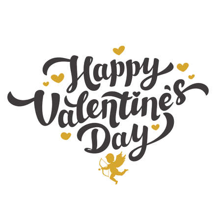 Love day greeting card. Golden happy Valentines day quote with hearts and cupids in vintage style on white background. Vector illustration Illusztráció
