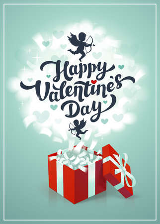 Happy Valentine s day greeting card - love day vector card or poster with red gift box and cupids in the clouds. Vector illustration