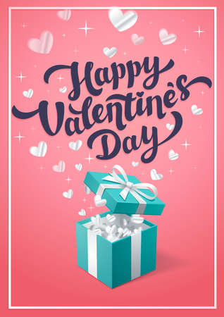 Happy Valentines day pink greeting card - love day vector card or poster with turquoise gift box and cupids in the clouds. Vector illustration