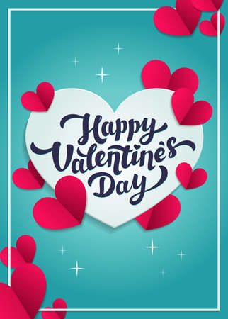 Happy Valentine s day greeting card - love day vector card or poster with hearts in paper cut style. Vector illustration