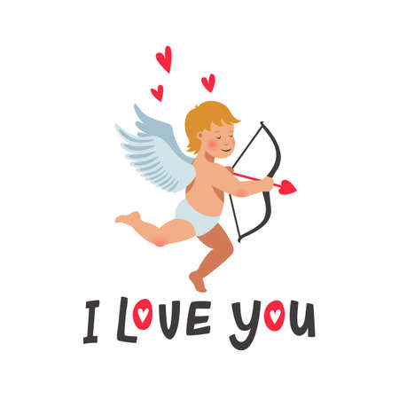 I love you card. Valentines day card with cute cupid on white background. Vector illustration