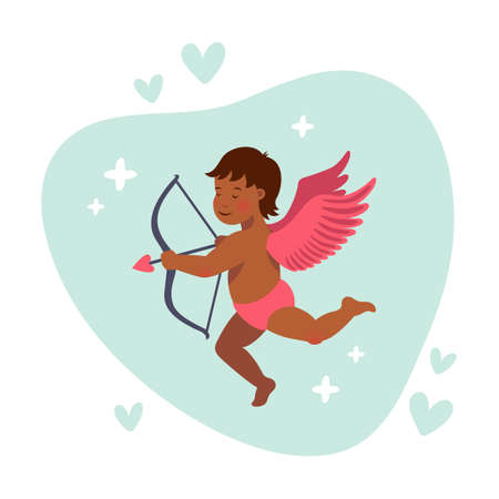 Cupid or angel with bow and arrow. Vector cute cupid for valentine s day. Cartoon flat style vector illustration