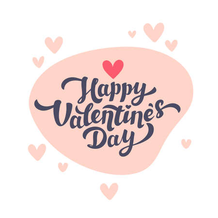 Happy Valentines day lettering with hearts on white background. Love day greeting card. Vector illustration Illusztráció