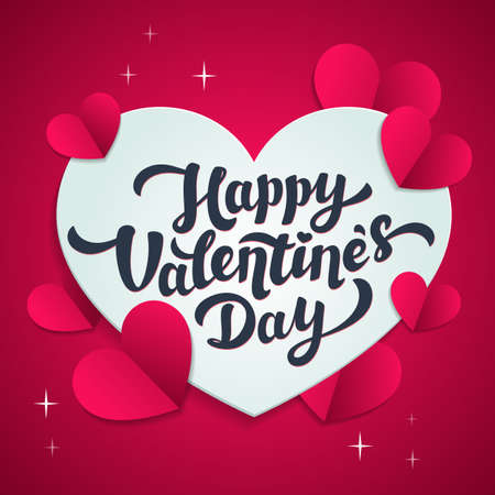 Happy Valentines day greeting card - love day vector card or poster with hearts in paper cut style. Vector illustration