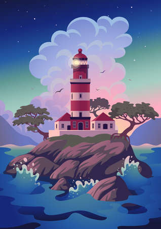 Lighthouse - vector landscape. Sea landscape with beacon on the cliff. Vector illustration in flat cartoon style.