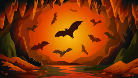 Cave with bats on sunset. Panoramic vector landscape with flying bats and red firelight. Vector illustration in flat cartoon style 矢量图像