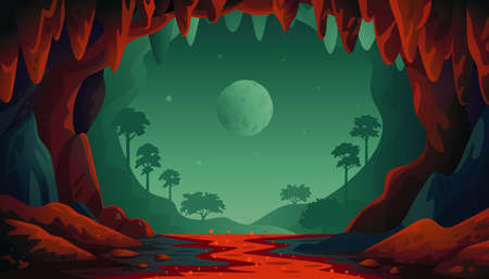 Jungle vector landscape. Cave landscape with an underground red river and forest. Vector illustration in flat cartoon style. 矢量图像