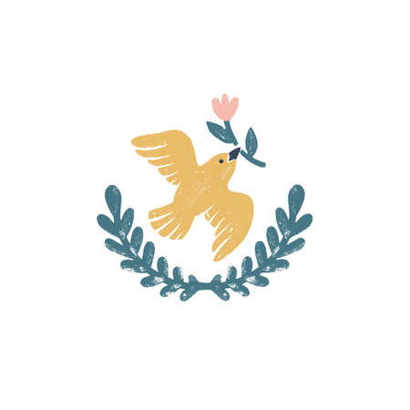 Peace dove vector logo - a vintage handmade icon with bird and wreath in stamp print style. Vintage vector illustration 矢量图像