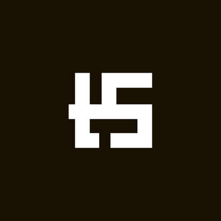 TS monogram . Ts minimalist initials or icon for a company or business in a geometrical style. Vector illustration on black background 矢量图像