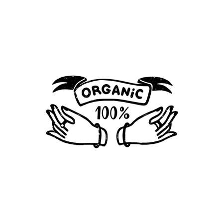 100 percent organic vector logo - a vintage handmade badge with hands and ribbon in stamp style. Vintage vector illustration 矢量图像