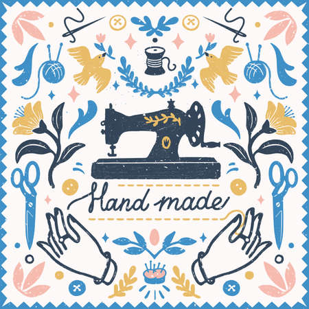 Handmade symmetric vector composition - vintage elements in stamp style and sewing machine with hand made lettering. Vintage vector illustration for banners and cards