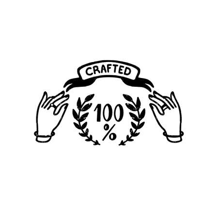 100 percent Crafted vector logo - a vintage handmade badge with hands and ribbon in stamp style. Vintage vector illustration 矢量图像