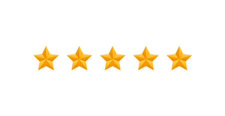 5 star review. Five gold stars icon - service rate or quality feedback sign. Flat style vector illustration