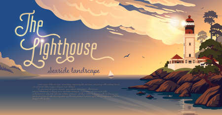 Lighthouse - vector landscape. Sea landscape with beacon on the beach at sunrise. Vector horizontal illustration in flat cartoon style.