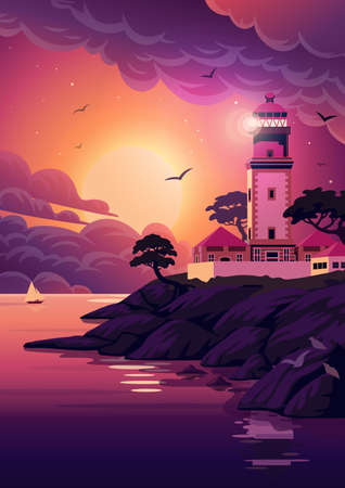 Lighthouse - vector landscape. Sea landscape with beacon on the cliff at sunset. Vector illustration in flat cartoon style.