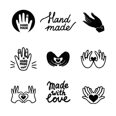 Handmade vector icons set - vintage elements in stamp print style and home made letterings. Vintage vector illustration for banner and label design