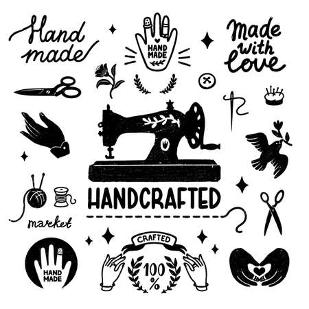 Handmade and handcrafted vector icons set - vintage elements in stamp style, sewing machine and hand made letterings. Vintage vector illustration for banner and label design 矢量图像
