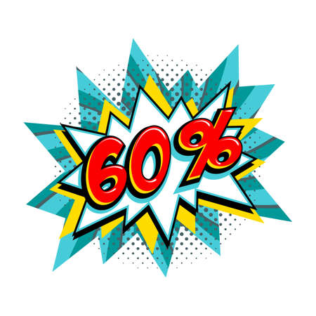 60 off sale. Comic turquoise sale bang balloon - Pop art style discount promotion banner. Vector illustration. 矢量图像