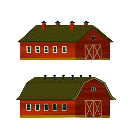 Red barns set. Wooden red Barn houses or stables in rustic retro style. Vector illustration in flat cartoon style on white background