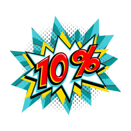10 off sale. Comic turquoise sale bang balloon - Pop art style discount promotion banner. Vector illustration. 矢量图像
