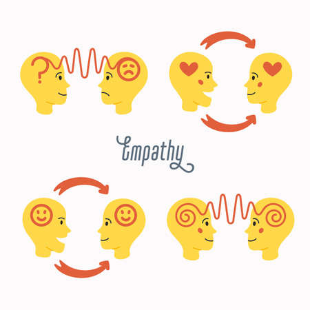 Empathy icons set. Empathy - exchange of emotions and feelings concept. Silhouettes human heads with an abstract image of emotions inside. Vector illustration in flat cartoon style on white background 矢量图像