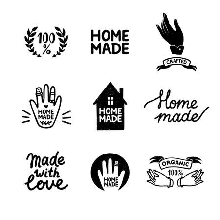 Homemade stamp logos set - vintage icons in stamp style, home made lettering with cute house and hands silhouettes. Vintage vector illustration for banner and label design. 矢量图像