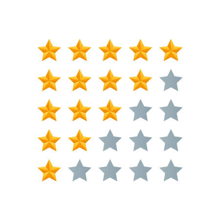 5 star review. Five gold stars icon - service rate or quality feedback sign. Flat style vector illustration.
