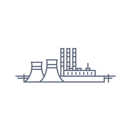 Thermal power plant line icon. Thermoelectric power station - energy generation concept. Vector linear illustration on white background. 矢量图像