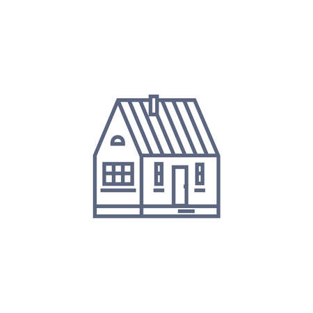 Cottage line icon - village house or wooden cabin in linear style on white background. Vector illustration.