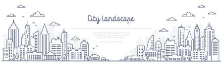 Cityscape line panorama - urban landscape in linear style on white background. Thin line vector illustration. 矢量图像
