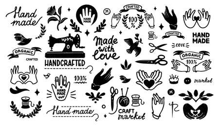 Handmade vector icons set - vintage elements in stamp style and home made letterings. Vintage vector illustration for banner and label design. 矢量图像