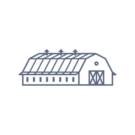 Barn house line icon - village house or wooden cabin in linear style on white background. Vector illustration.