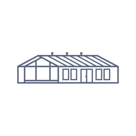 Barn house line icon - village house or greenhouse in linear style on white background. Vector illustration. 矢量图像
