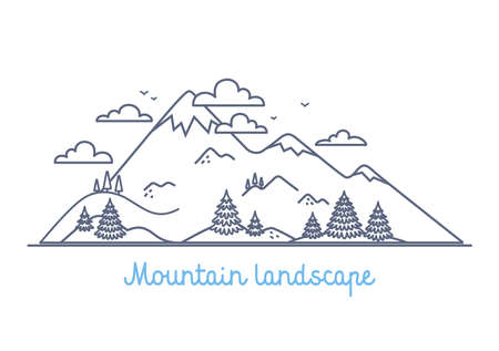 Mountain landscape - linear vector simple illustration on white background simple linear illustration on white background. .