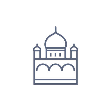 Church line icon - orthodox chapel simple linear pictogram on white background. Vector illustration. 矢量图像