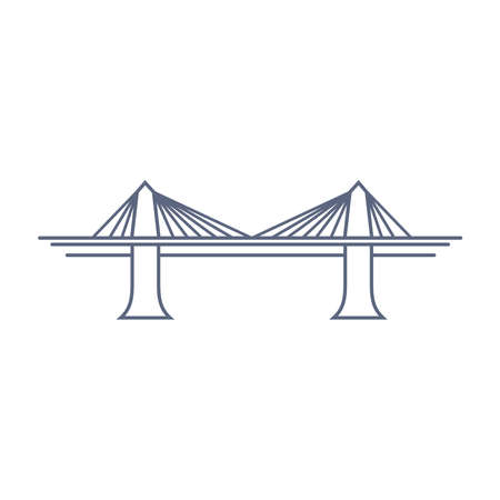 Bridge line vector icon - suspension bridge simple pictogram in linear style on white background. Vector illustration.