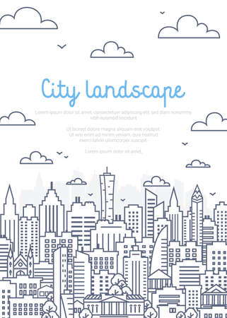 City landscape poster - urban landscape in linear style on white background. Thin line vector illustration. 矢量图像